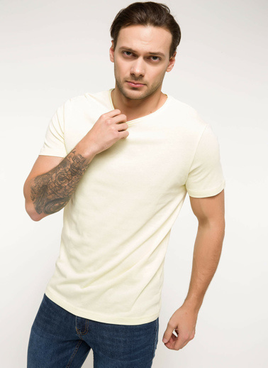 DeFacto Slim Fit T-shirt Sarı